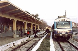 A Class 621 (MAN-2000) DMU at Kozani Station in March 2007,a few weeks after reopening the line.