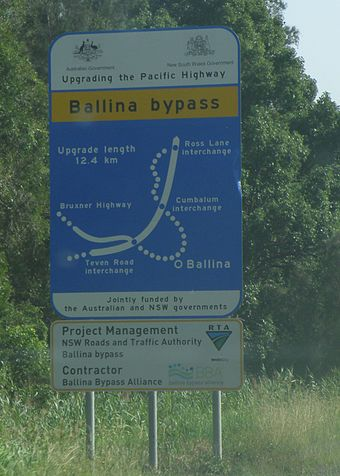 A 2009 project sign for the Ballina Bypass, subsequently completed. 20091201 - Ballina Bypass - Sign.JPG
