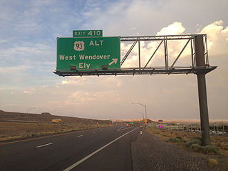 U.S. Route 93 Alternate (Nevada) - Alt 93 splits from I-80 in West Wendover
