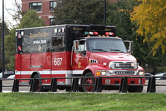 Chicago Fire Department - The Scuba Team vehicle on Lake Shore Drive in Hyde Park
