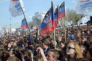Separatism - Pro-Russian separatists in Donetsk, eastern Ukraine.
