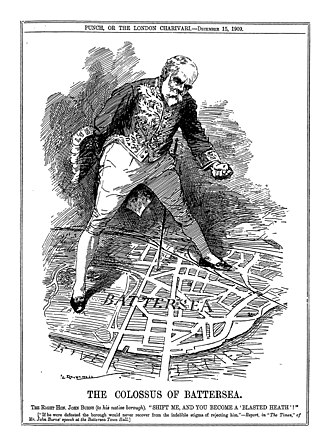 John Burns - Burns as the Colossus of Battersea, in a 1909 Punch cartoon by Leonard Raven-Hill