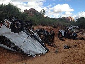Hurricane Linda (2015) - Image: 2015 Hildale, Utah, flash flood car remains