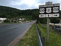 2016-05-27 20 02 44 View south along Virginia State Route 261 (Statler Boulevard) at the junction with U.S. Route 250 (Richmond Avenue) in Staunton, Virginia.jpg