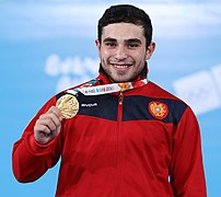 2018-10-11 Victory ceremony (Weightlifting Boys' 77kg) at 2018 Summer Youth Olympics by Sandro Halank–001.jpg