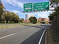2018-10-31 15 17 37 View east along U.S. Route 50 (Arlington Boulevard) at the exit for North Lynn Street (Rosslyn, Key Bridge) in Arlington County, Virginia.jpg