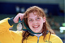 221000 - Swimming 200m medley SM10 Gemma Dashwood silver medal - 2000 Sydney medal photo.jpg