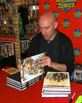 Runaways (comics) - Writer Brian K. Vaughan signing hardcover copies of the series at Midtown Comics in Manhattan.