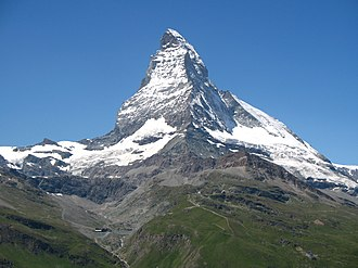 Charles Hudson (climber) - The Matterhorn. The fatal accident occurred on the sunny snow slopes at the top right of the mountain