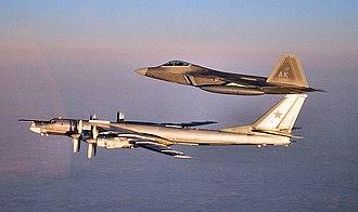 3rd Wing - A 90th Fighter Squadron F-22 Raptor escorts a Russian Air Force Tu-95 Bear bomber near Nunivak Island