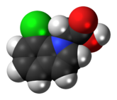 Space-filling model of the 4-chloroindole-3-acetic acid molecule