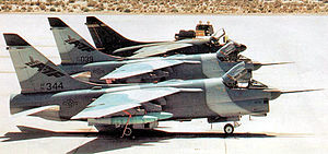 Vought YA-7F - Both 445th Flight Test Squadron YA-7F Corsair IIs prototypes with an Edwards-based A-7D