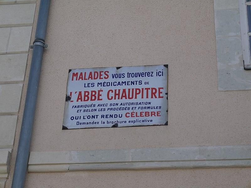 Plaque publicitaire pour les médicaments de l'abbé Chaupitre.