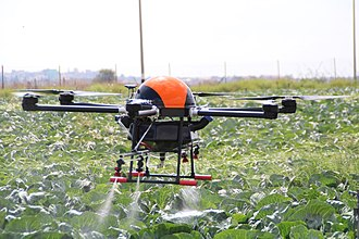 Agricultural drone - An agricultural drone by Agridrones that can carry up to 25Kg. Certified by the Civil Aviation Authority of Israel.