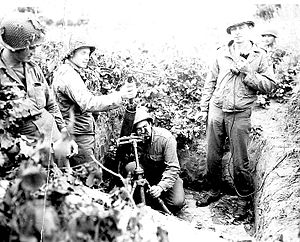 504th Infantry Regiment (United States) - Men of the 504th Parachute Infantry Regiment prepare to fire an 81mm mortar during the battle for Italy, September 1943.