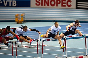 Omo Osaghae - 60m hurdles final at the 2014 IAAF World Indoor Championships in Sopot. Omo Osaghae, Pascal Martinot-Lagarde, Garfield Darien and Andrew Pozzi