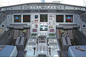 Airbus A340 - From the start, Airbus intended the A330/A340 to share a common flight deck with the A320. The cockpit of a Lufthansa A340-600 is shown