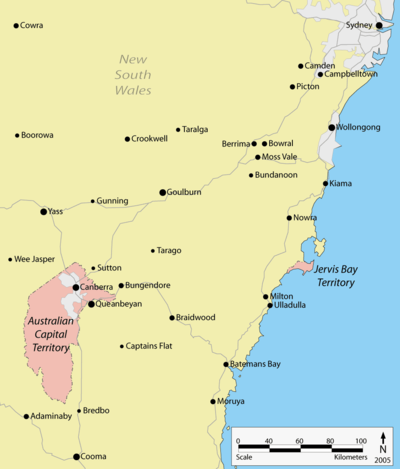 The Australian Capital Territory is approximately 250 kilometres southwest of Sydney, surrounded by New South Wales. The Jervis Bay Territory is about 125 kilometres east of the ACT, on the coast.