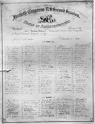 Impeachment of Andrew Johnson - The impeachment resolution signed by the House of Representatives.