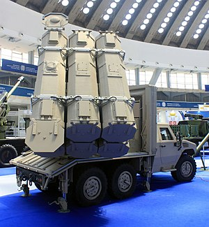 ALAS (missile) - ALAS guided missile launch vehicle on Nimr vehicle chassis