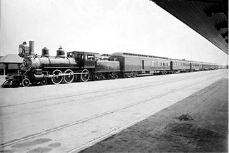 California Limited - California Limited in Los Angeles, California with engine No. 53 at the La Grande Station circa 1899