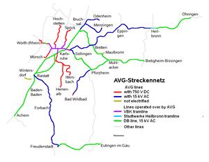 Albtal-Verkehrs-Gesellschaft - AVG rail network