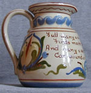 """Aller Vale Pottery - 6"""" Jug decorated with the scandy pattern and a motto"""