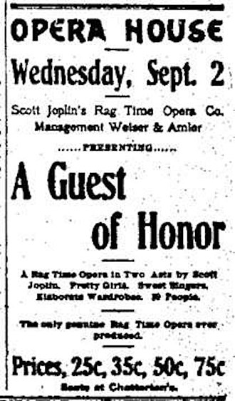 Scott Joplin - September 2, 1903 Advertising poster for A Guest of Honor by Scott Joplin