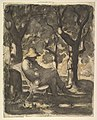 A Man Reading in a Garden (recto); Preliminary sketch for a Man Reading in a Garden (verso) MET DP818895.jpg