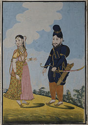A Mughal Warrior and his wife