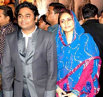 A. R. Rahman - Rahman and his wife, Saira Banu, at the 2010 soundtrack release of Enthiran in Kuala Lumpur
