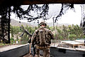 A U.S. Soldier assigned to the 2nd Platoon, Alpha Company, 1st Battalion, 327th Infantry Regiment, 1st Brigade Combat Team, 101st Airborne Division provides rooftop security at the customs checkpoint at Torkham 130424-A-SW098-072.jpg