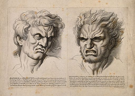 A face expressing hatred and jealousy (left) and a face expr Wellcome V0009406