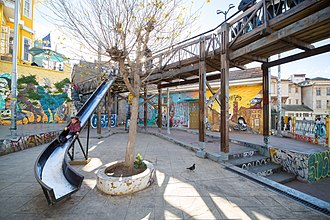 Playground slide - Slide in Valparaíso as an integral part of the square architecture