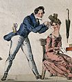 A man dresses a woman's hair. Coloured engraving. Wellcome V0019647EL.jpg