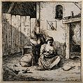 A man observing his wife breast feed their child. Etching by Wellcome V0015037.jpg