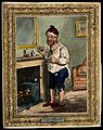A man standing by a fireplace, pulling a peculiar face after Wellcome V0011205.jpg