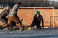 A shot on goal at an outdoor broomball tournament in Panora, Iowa.jpg