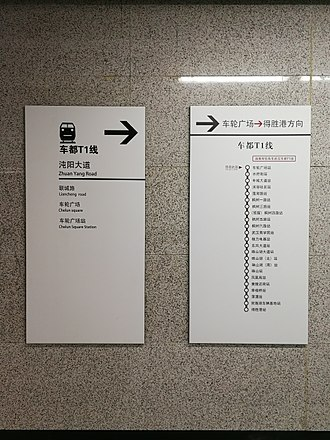 Trams in Wuhan - Image: A signboard for Auto city trams in Interchange Cannel