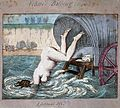 A woman diving off a bathing wagon in to the sea. Coloured e Wellcome L0017751.jpg