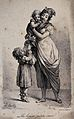 A woman is holding a child in her arms and her sister is sta Wellcome V0038767.jpg