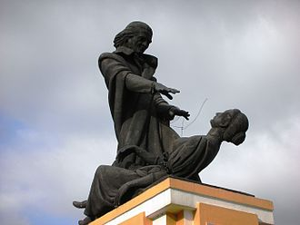 Abbé Faria - Statue of Abbé Faria hypnotising a woman next to the Old Secretariat (Idalçao palace) in Panjim, Goa