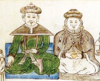 Tüsheet Khan - Abtai Sain Khan (r 1554-1586) with his wife