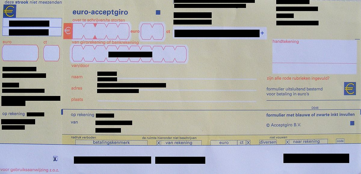 acceptgiro betalen vanuit belgie