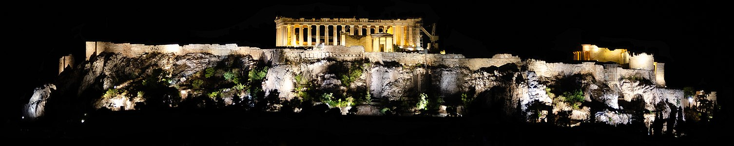 Acropolis of Athens at night (cropped).jpg