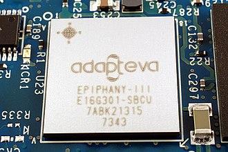 Adapteva - 16-core Adapteva Epiphany chip, E16G301, from Parallella single-board computer