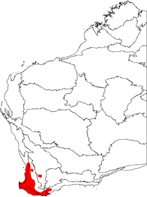 a map of Western Australia with the floristic regions delineated, and an area in the bottom right marked in red