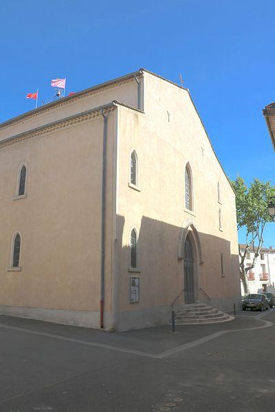 Adissan (Hérault) - façade de l'église Saint-Adrien