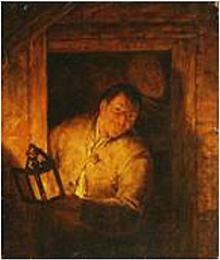 A Man Holding a Lantern in a Window