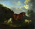 Adriaen van de Velde - Een bruin paard, een koe, een geit en drie schapen (1663).jpg